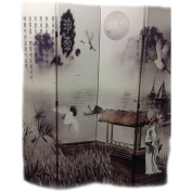 Ore International Inc. 4-Panel Poet's Dream Chinese Painting Room Divider
