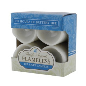Flipo Pacific Accents White Resin Wavy Top Flameless Tea Lights with Timers, Set of 4