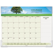 Recycled Motivational Panoramic Monthly Desk Pad, 22 x 17, 2014