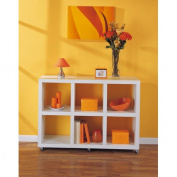 Dawn 6-Section Storage Rack with Casters, White