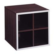 Quadrant 4-Section Storage Cube with Chrome Trim, Espresso