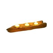 Dekorasyon Gifts & Decor Flat Wood 3-Tealight Candleholder