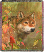 Manual The Lodge Collection 130cm x 150cm Tapestry Throw with Fringe, Hidden in The Mist by James Hautman