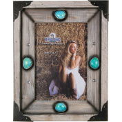 Rivers Edge Products 13cm x 18cm Western Wood Picture Frame with Turquiose Stones