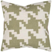 50cm Khaki Green and Antique White Houndstooth Decorative Throw Pillow