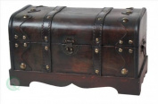 Quickway Imports Small Pirate Style Wooden Treasure Chest in Antique Cherry