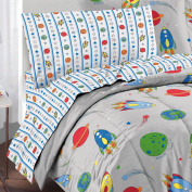 Space Rocket Ultra Soft Microfiber Twin Comforter Bedding Set, Grey Multi
