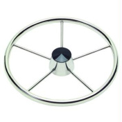 Ongaro 170 34cm Stainless 5-Spoke Destroyer Wheel w/ Black Cap and Standard Rim - Fits 1.9cm Tapered Shaft Helm