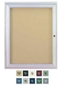Ghent PA12418VX-199 24 in. x 18 in. 1-Door Satin Aluminum Frame Enclosed Vinyl Bulletin Board - Stone