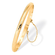 PalmBeach Jewelry 51057 18k Yellow Gold Over Sterling Silver Floral Motif Bangle Bracelet 7