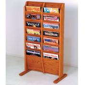 Wooden Mallet MR14-FSMO Cascade Free Standing 14 Pocket Magazine Rack in Medium Oak