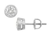 FineJewelryVault UBER18WHBZ100DSI-101 18K White Gold : Bezel Set Round Diamond Stud Earrings - 1.00 CT. TW.