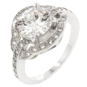 J Goodin R08058R-C01-09 White Gold Rhodium Bonded Engagement Ring with Round Cut Clear CZ in a Prong Setting in Silvertone- Size 9