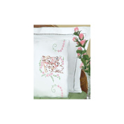 Jack Dempsey 242447 Stamped Pillowcases With White Lace Edge 2-Pkg-Mare& Colt
