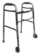 BRIGGS HEALTHCARE 802-1045-0600 WALKER FOLDING ADJ 2 - BUTTON RELEASE WITH WHLS SILVER