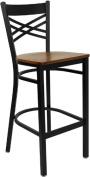 Flash Furniture XU-6F8BXBK-BAR-CHYW-GG Black X Back Metal Bar Stool with Cherry Wood Seat