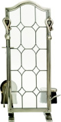 Uniflame F-1677 5 PC PEWTER LEADED GLASS FIRESET