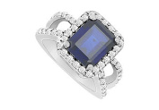 FineJewelryVault UBUK625W10CZS-118 Diffuse Sapphire and Cubic Zirconia Ring : 10K White Gold - 3.25 CT TGW - Size
