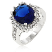 J Goodin R07730R-C30-08 Oval Sapphire Crystal and Round CZ Trimmed Ring in Rhodium with Pave Shoulders