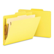 Smead 13704 Top Tab Classification Folder with 1 Divider 4-Section Yellow