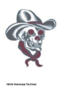 Costumes For All Occasions DF113 Tattoo Vintage Skull Cowboy