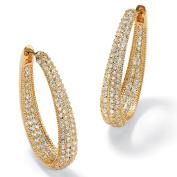 PalmBeach Jewelry 49107 8.10 TCW Cubic Zirconia 14k Yellow Gold-Plated Oval-Shape Inside-Out Huggie Hoop Earrings