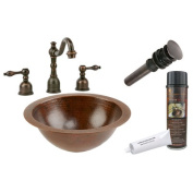 Premier Copper Products BSP2-LR12FDB Small Round Under Counter Hammered Copper Sink with ORB Widespread Faucet