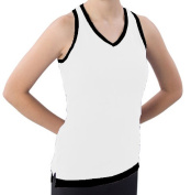 Pzazz Performance Wear 8700 -WHTBLK-YM 8700 Youth Layered Look Top - White with Black - Youth Medium