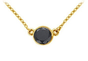 FineJewelryVault UBPD14YGBZ175BD-101 14K Yellow Gold : Bezel Set Round Black Diamond Solitaire Pendant - 1.75 CT. TW.