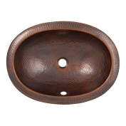 The Copper Factory Solid Hand Hammered Copper Oval Self Rimming Lavatory Sink in Antique Copper Finish - CF153AN