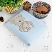Blancho Bedding TB-BLK010-30.7by39.4 Lovely Bear Embroidered Applique Polar Fleece Baby Throw Blanket