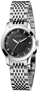 Women's Stainless Steel Timeless Patterned Black Dial - Watch