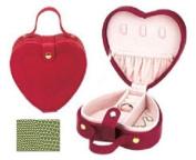 Budd Leather 540192-39 Lizard Print Heart Shaped Jewel Box With Handle - Lime Green