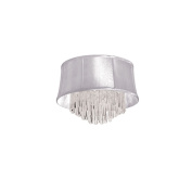 Dainolite JUL184FH-PC-119 4 Light Crystal Flush Mount Fixture with White Organza Bell Shade - Polished Chrome