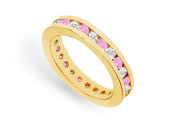 FineJewelryVault UB14YRD100DPS1413-101 Pink Sapphire and Diamond Eternity Band : 14K Yellow Gold - 1.00 CT TGW - Size