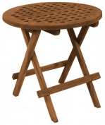 SeaTeak 60031 Folding Deck Table Round-Grate Top Oiled Finish