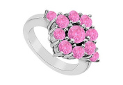 FineJewelryVault UBJ257W14PS-101 Pink Sapphire Ring : 14K White Gold - 1.50 CT TGW - Size