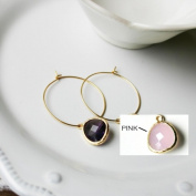 Rebecca HLSGP Hoop Stone - Gold-Pink