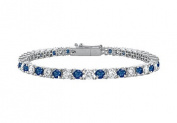 FineJewelryVault UBBR18WRD131300DS-101 Sapphire and Diamond Tennis Bracelet : 18K White Gold - 3.00 CT TGW