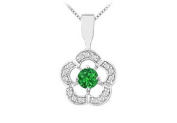 FineJewelryVault UBPD2742W14DE-101 Emerald and Diamond Flower Pendant : 14K White Gold - 0.50 CT TGW
