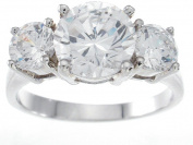 Plutus kkr5332d 925 Sterling Silver Platinum Finish Brilliant Three Stone Engagement Ring Size 9
