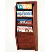 Wooden Mallet MR24-4MH Cascade 4 Pocket Magazine Rack in Mahogany