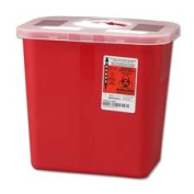 Unimed-Midwest- Inc. UMISRRO100970 Biohazard Sharps Container w- Rotor Lid- 2 Gal.- Red