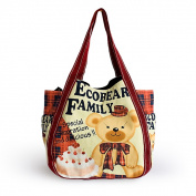 Blancho Bedding ARJ-02005 Ecobear Family Eco Canvas Shoulder Tote Bag / Shopper Bag / Multiple Pockets