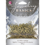 Cousin 150179 Jewellery Basics Metal Findings 400-Pkg-Antique Gold 4mm-6mm Jump Rings