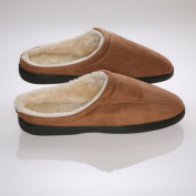 Living Healthy Products cswf-910-cam 9-10 Camel Suede Male Slippers with Wool Fleece Lining