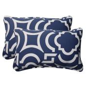 Pillow Perfect 500713 Outdoor Carmody Corded Rectangular Throw Pillow in Navy - Set of 2 - Blue-White