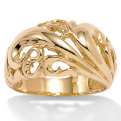 PalmBeach Jewelry 433898 18k Yellow Gold Over Sterling Silver Swirl Dome Ring - Size 8