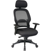 Office Star Professional Deluxe Mesh Back Office Chair with Headrest, Black