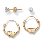 PalmBeach Jewelry 41589 Childs .20 TCW Round Cubic Zirconia 14k Yellow Gold 2-Pairs Heart Hoop Earrings Set